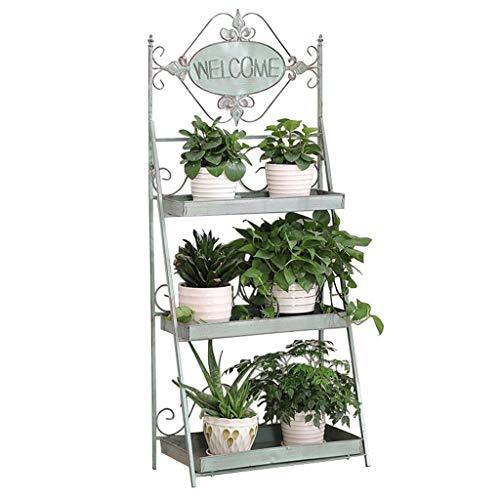 3 tablettes en Fer sur Pied, Support à Fleurs étagère de Rangement/étagère de Rangement Salon Balcon et présentoir pour Plantes d'intérieur d'extérieur Support en métal présentoir de bonsaï Vert