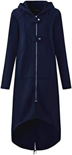 Hooded Asymmetrical Long Sweater Coat Hoodies (Color : Navy, Size : 5XL)