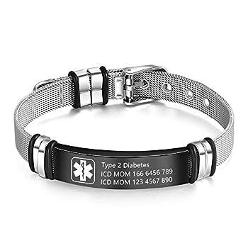 Medical Alert Bracelet for Men & Women Adjustable Free Engrave Stainless Steel Emergency Medical ID Bracelets Medic Alert Bracelet Health Alert Bracelets  With medical bracelet
