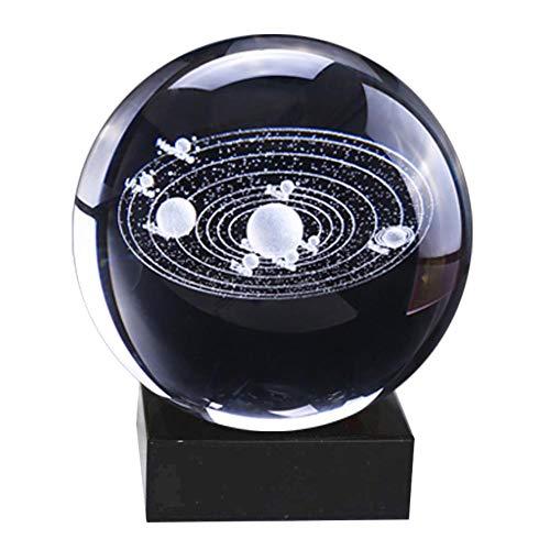 Galaxy kristallen bol LED nachtlampje 3D laser zonnesysteem glazen bol met verlichting basis decoratieve planeten miniaturen kantoor decoratie ornament verjaardagscadeau 80MM 13