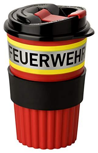 PACOTEX Feuerwehr to-Go Coffee Becher rot mit gelb-Silber-gelb Streifen in Feuerwehroptik, 350ml, mit griffiger Softmanchette