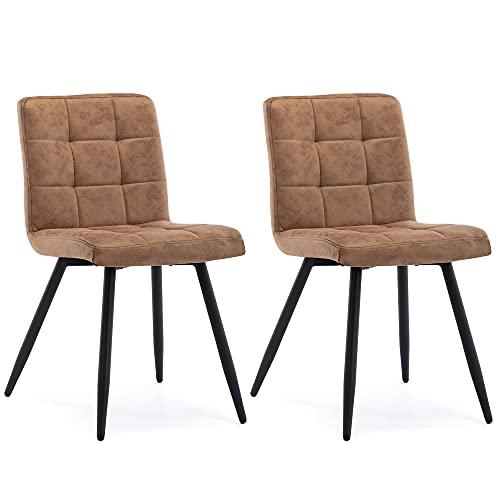 HNNHOME® - Set di 2 sedie cubana imbottite da cucina, gambe in metallo nero resistente, sedia da salotto e reception, colore: marrone chiaro, tessuto