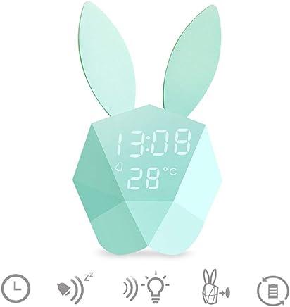 M/ädchen Baby AAOAA Kinder Wecker Nachtlicht Kaninchen Hase Lampe warmwei/ß Wecker Funktion Wake-up Licht Lead Voice Aktivierung Kind Kinderzimmer