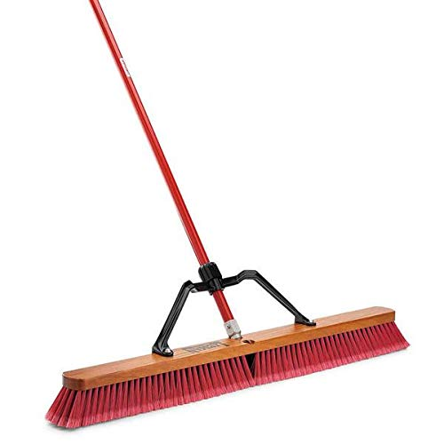 "Libman Commercial 1101 Multi-Surface Heavy Duty Push Broom, 65"" Length, 36"" Width, Black/Red (Pack of 3)"