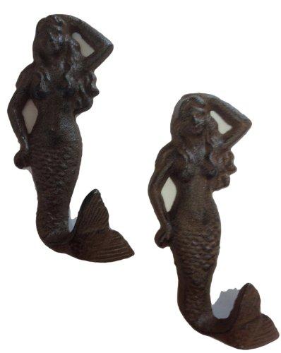 Mermaid Cast Iron Nautical Wall Hook Set of 2