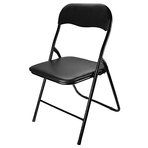 ASAB Premium Black Vinyl Folding Chair with Carrying Handle and Comfy Cushion (1)