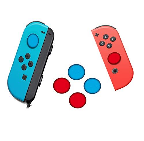 SDTEK Pulsanti in Silicone TPU con Controller per impugnature per Pollice Rosso e Blu al Neon da 4 Pezzi per Nintendo Switch