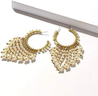 MONGHHF Earrings Handmade Natural Fresh Water Pearl Hoop Earrings For Women Girls Wdding Party Big Circle Earrings Luxury ...