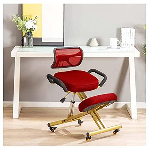 VIVIANSHOP Silla de escritorio con respaldo para ordenador y silla plegable de acero, giratoria y elevación, ergonómica, color rojo