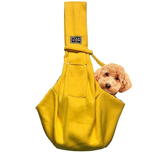 レットハート 犬 ペット スリングバック 抱っこひも 小型犬用 中型犬用 猫用 ペットスリング だっこひも 飛び出し防止機能 通院 サロン お出かけ 災害 公共機関で利用可能 (イエロー)