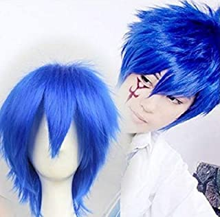FidgetFidget Jellal Fernandes Short Fashion Cosplay Blue Full Wig Cosplay Wig