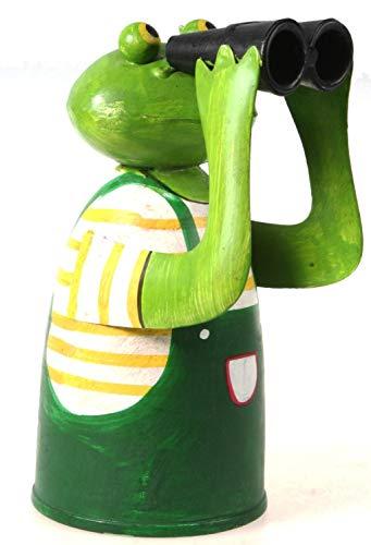 Schick-Design Zaunhocker Frosch mit Fernglas und gelbem Shirt aus Blech 21 cm Figur Metall Deko Garten Balkon Dekofigur Pfostenhocker