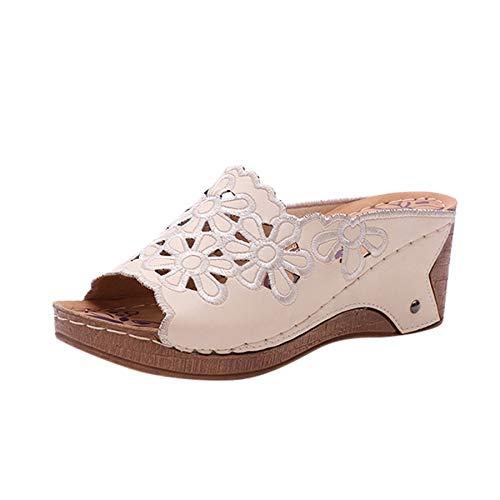 WINJIN Sandales Femmes Slip on Mules compensées d'été Chaussures Femme Mode Mules à Compensées Sandales Ouvert Femme