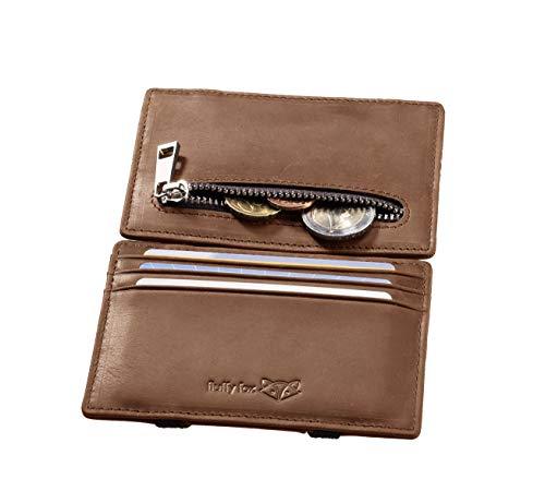 ⌊Lucky⌋ Magic Wallet aus hochwertigem Naturleder in Vintage-Style mit praktischem Münzfach,schlauem RFID-Schutz und stilechter Geschenkbox I Schlanker Premium Geldbeutel von fluffy fox ®