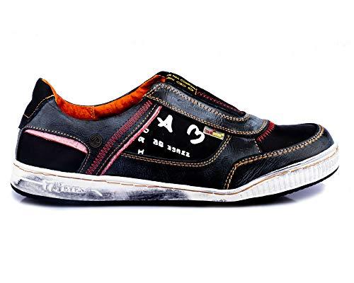 TMA 4104 Herren Halbschuhe Slipper Sneaker Leder schwarz alle Größen 41-46 EUR 45