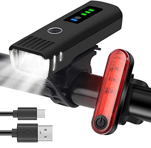 Fahrradlicht Led Fahrradbeleuchtung Set | Fahrradlampe USB Wiederaufladbare Frontlicht und Rücklicht | Wasserdicht Fahrrad Licht StVZO Zugelassen Fahrradlichter
