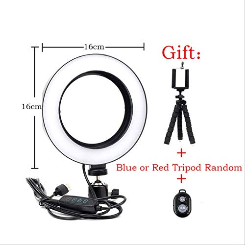 16 / 26cm Dimmable Led Selfie Ring Light Fotografía Teléfono de Estudio Video con Mini trípode Conector USB Transmisión en Vivo Talla única Negro