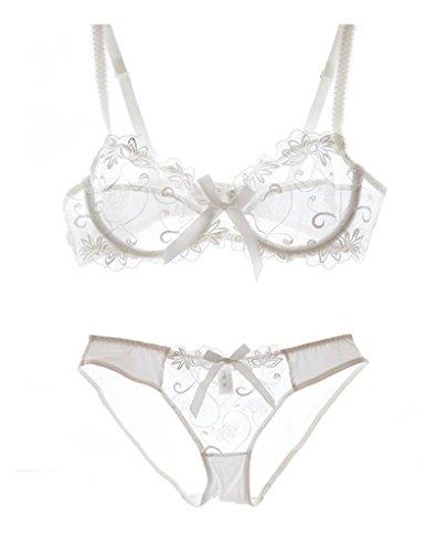 Nanier Women's Thin Transparent Lace Bra Set White C