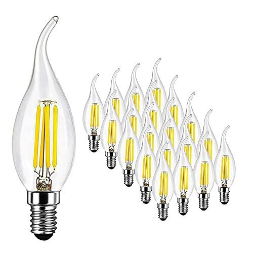 Bombillas Vela LED E14 4W Equivalente a 40W, 400Lm, Blanco Frío 6500K, Bombilla LED Vela Casquillo Fino para Candelabros, Lámparas Decorativas, Vidrio, No Regulable, 20 Unidades - SUPOO