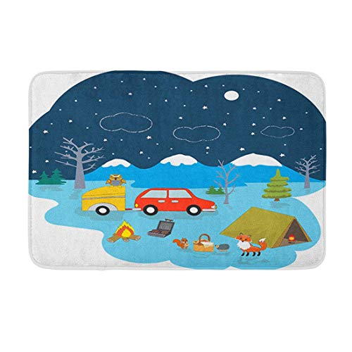 Tappetino da Bagno con Tenda da Campeggio Animali a Cielo Stellato Auto Bus Campeggio Caravaning Flat Me Arredamento Bagno Accogliente Tappeto da Bagno con Rivestimento Antiscivolo