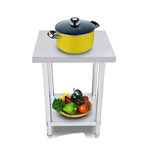 Vlakke operatietafel roestvrij staal, 1 stuks dubbellaags roestvrijstalen platform operatietafel Werkstation Keukenbureau 0,6 mm voor restaurant Zakelijk magazijn Huis Keuken Garage(3x2FT=91X61CM)