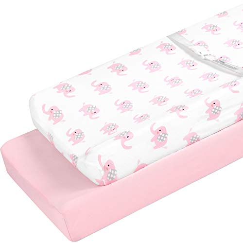 TILLYOU Jersey Cotton Elephant Changing Pad Covers- Ultra Soft Cozy Hypoallergenic Diaper Change Table Sheets for Baby Girls Boys - Fit 32