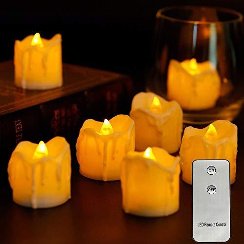 BBGSFDC Realista Pack de 6 LED sin Llama de Velas con Mando a Distancia, Pilas Falso electrónico Tealight Velas for Velas de cumpleaños Brillante (Color : Yellow Light Type B)