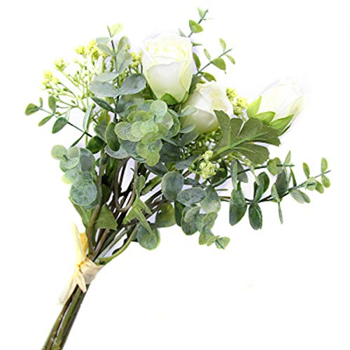 LACKINGONE Ramo de Flores Artificiales Surtidas, Ramas de eucalipto para el Aliento...