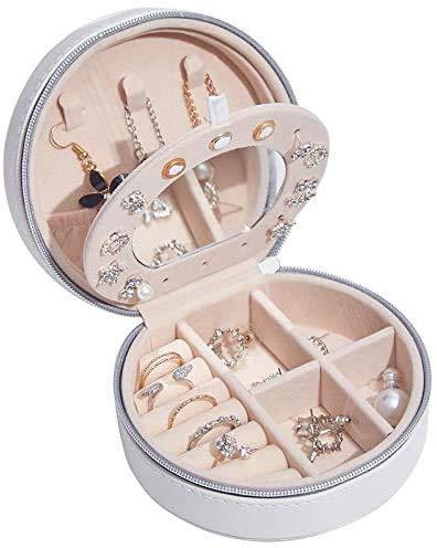 Gymqian Caja de Joyería de Cuero Joyería Portátil Joyería Moda Joya Casta Joyería Caja Organizador Diseñado para Mujeres Seguro y fuerte