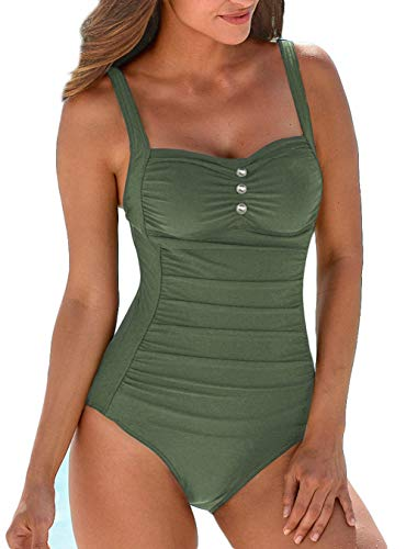 Upopby Women's Retro Tummy Control One Piece Swimsuits Monokini Push Up Bathing Suits Swimwear Army Green 8