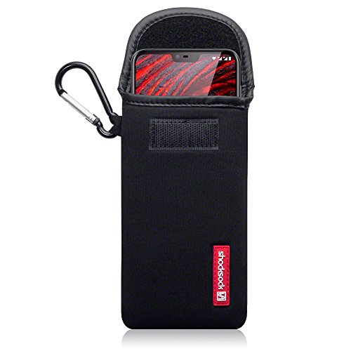 shocksock, Kompatibel mit Nokia 6.1 Plus Neopren Tasche mit Carabiner Hülle - Schwarz