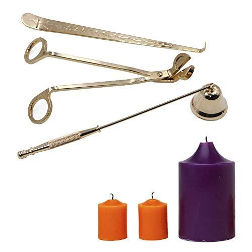 OFKPO Kerze Werkzeuge,Edelstahl Set von 3 Kerzenlöscher/Dochtschere/Kerze Zubehör(Golden)