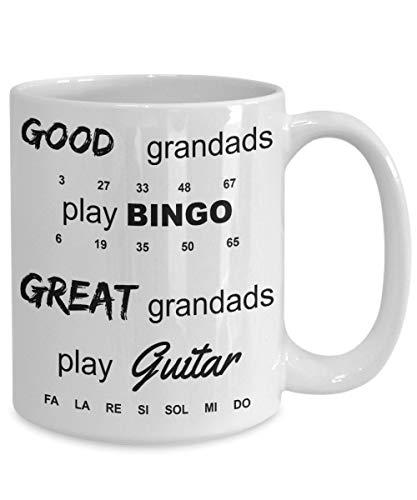 Taza de café grande con diseño de abuelo, guitarra eléctrica, bingo, ideal...