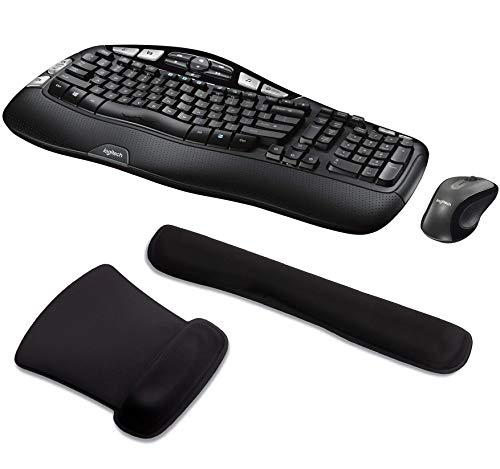 Logitech MK550 Wireless Wave Keyboard and Mouse Bundle with Waverest Gel Wrist Pad and Gel Mouse Pad