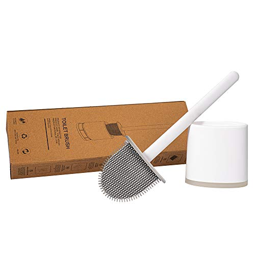 MEIZHEN Revolutionary SilIcone Flex Toilet Brush With Holder, Deep Cleaner Bathroom Toilet Brush and Quick Drying Holder Set, No-Slip Long Plastic Handle, Soft Silicone Bristle Sturdy white