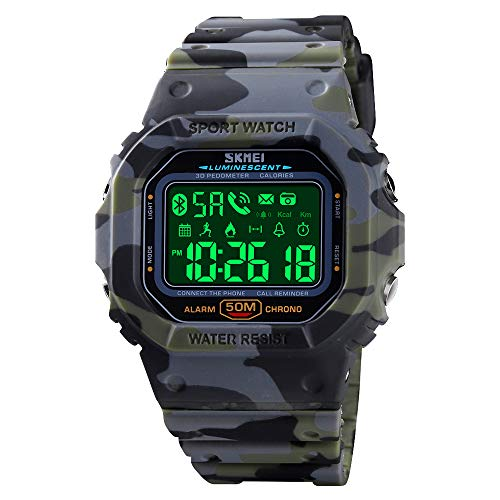 SKMEI Digital Watch for Men, Waterproof Military Wrist Watches with Pedometer Calorie Chronograph Call SMS Reminder LED Backlight Running Sport Watches for Men (Camouflage Green)