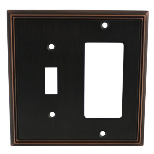 Cosmas 65027-ORB Oil Rubbed Bronze Single Toggle/GFI Decora Rocker Combo Wall Switch Plate Switchplate Cover