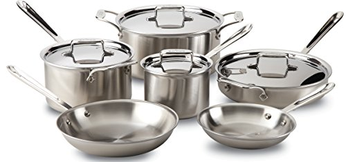 All-Clad Brushed D5 Stainless Cookware Set, 5-Ply Stainless Steel, 10-Piece