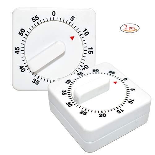 Xiuyer Temporizador de Cocina Mecánico, 2 Piezas Temporización de 60 Minutos con Alarma Analog Cronómetro Countdown Timer para Casa Cocinar Hornear (Plástico, Blanco)