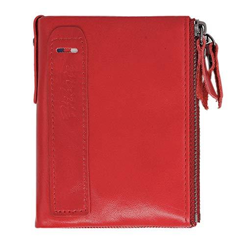 Hibate (Rosso) Donna Portafoglio Pelle Vera Blocco RFID Blocking Portafogli Porta carte di credito Portamonete Wallet