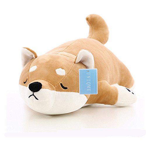 "UNIQME 21.6"" Dog Plush Doll Stuffed Shiba Inu 3D Animal Zoo Pet Throw Pillow Bed Nursery Decoration Baby Play Toy Puppy Shape Sleeping Pillow Gift for Girl Boy"