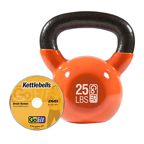 GoFit Premium Vinyl Dipped Kettle Bell with Introductory Training DVD - 25 Pounds