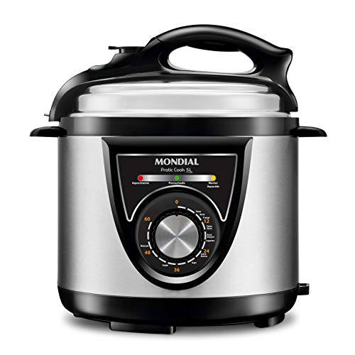 Panela de Pressão Elétrica Mondial, Pratic Cook 5L Premium, 127V, Preto/Inox, 900W - PE-34