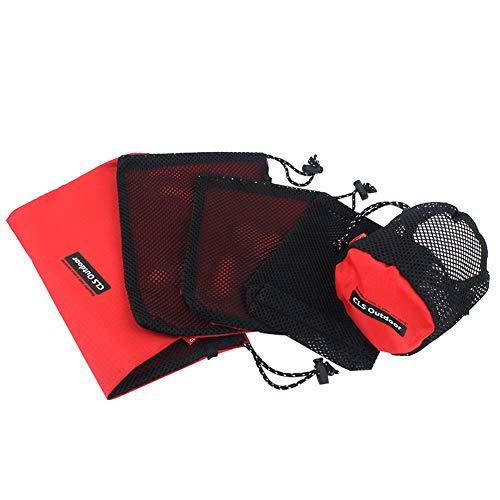 funie Taschen, tragbar, für den Außenbereich, Camping, Reisen, Kosmetiktasche, Netzstoff, 5 Stück einfarbig