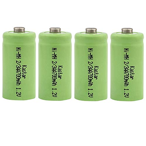 Kastar 4-Pack 2/3AA 1.2V 700mAh Ni-MH Button Top Rechargeable Batteries for High Power Static Applications (Telecoms, UPS and Smart Grid), Electric Mopeds, Meters, Radios, RC Devices, Electric Tools