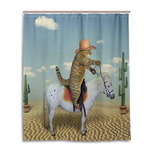 60Wx72H Zoll Duschvorhang mit Haken Katze Cowboy Reiten Pferd Wüste Wohnkultur wasserdichtem Polyester für Badezimmer