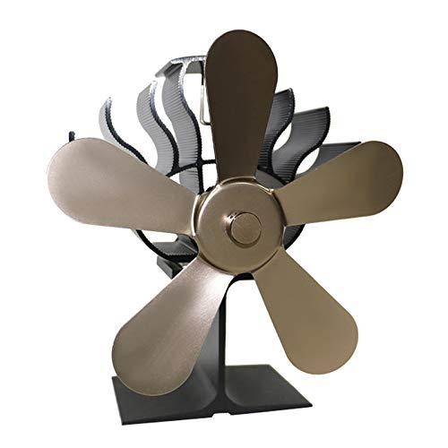 non_brand Ventilador de Estufa de 5 Aspas con Calor, Quemador de Leña, Ventilador de Chimenea - de Bronce, Individual