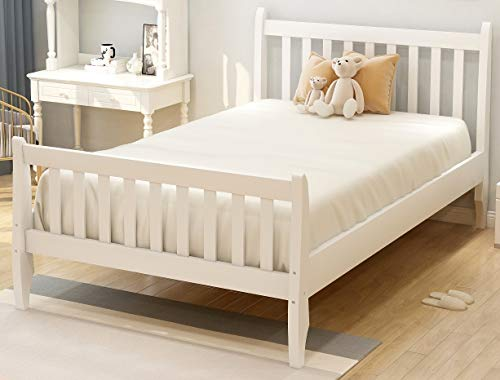 Danxee Wood Twin Bed Frame with Headboard and Footboard, Platform Bed Frame Mattress Foundation with...