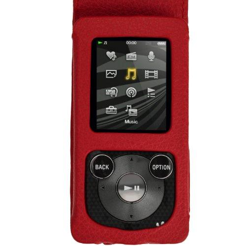 igadgitz U2751 Echtleder & Displayschutz & Abnehmbarer Karabinerhaken Kompatibel mit Sony Walkman NWZ-E384 - Rot