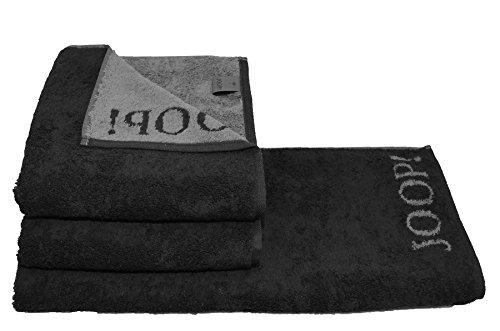 Joop! 2 x Duschtuch Gr. 80x150cm + 2X Handtuch Gr. 50x100 Fb. 90 schwarz Serie 1600 + GRATIS 1x rustikales Steakbesteck Julia